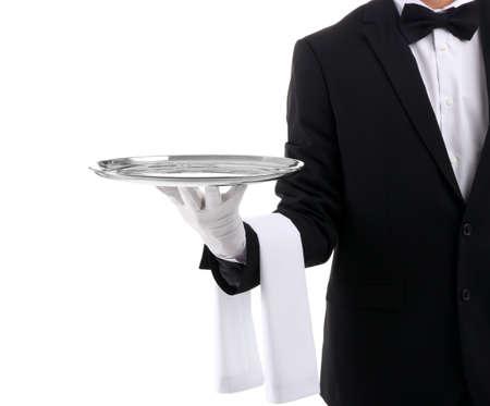 Waiter holding metal tray on white background