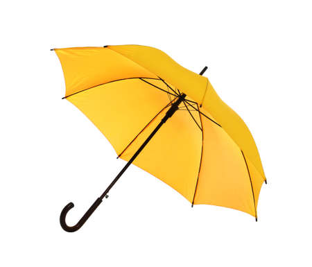 Beautiful open umbrella on white background