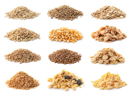 Sertie de différents grains de céréales sur fond blanc