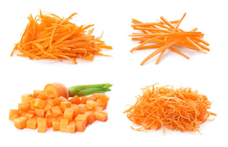 Set with ripe cut carrots on white background Banco de Imagens