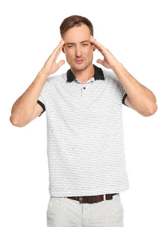Young man in casual clothes posing on white background