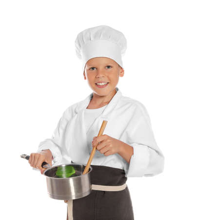 Portrait of little boy in chef hat with saucepan on white background