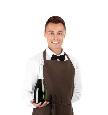 Waiter with bottle of champagne on white background