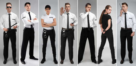 Set with security guards on light background Stock Photo