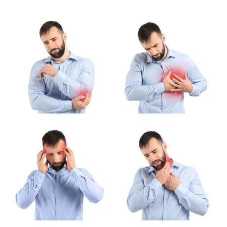 Set with young man suffering from pain in different parts of body on white background