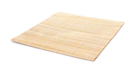 Sushi mat made of bamboo on white background Stock Photo