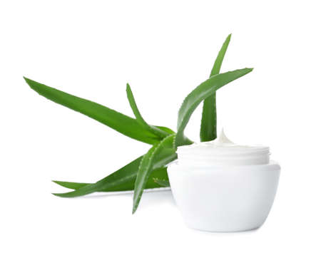 Jar with aloe vera balm and fresh leaves on white background
