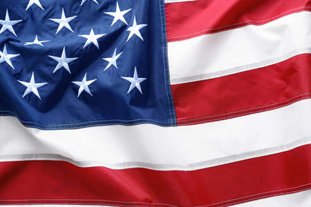 American flag as background, top view. National symbol
