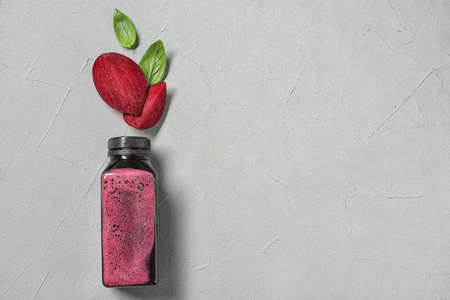 Flat lay composition with beet smoothie on light background with space for text Stock Photo