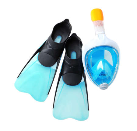 Pair of flippers and diving mask on white background, top view Stock Photo