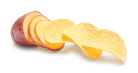 Raw potato and tasty chips on white background