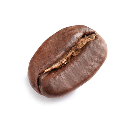 Roasted coffee bean on white background, top view