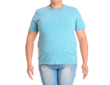 Fat woman on white background, closeup. Weight loss