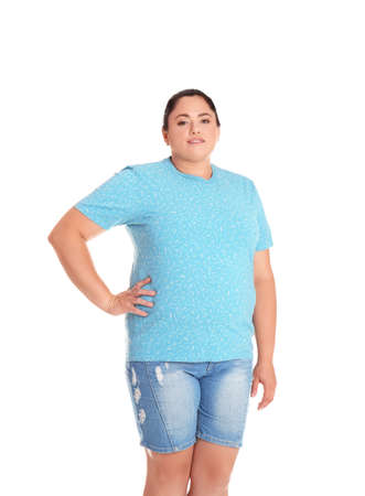 Fat woman on white background. Weight loss Stock Photo