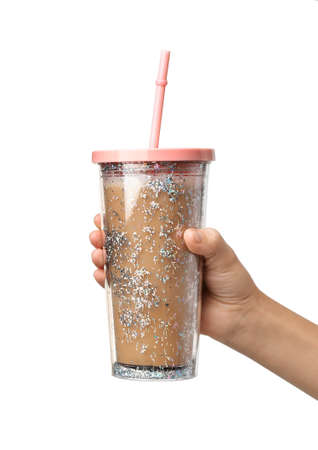Woman holding glitter coffee tumbler with straw isolated on white