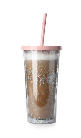 Glitter coffee tumbler with straw isolated on white