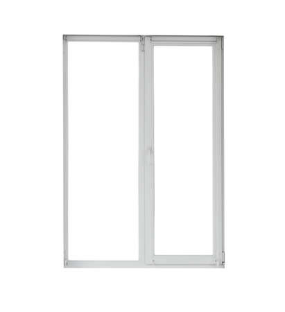 Modern window with open roller blinds on white background Stock Photo