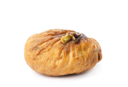 Delicious dried fig fruit on white background. Organic snack