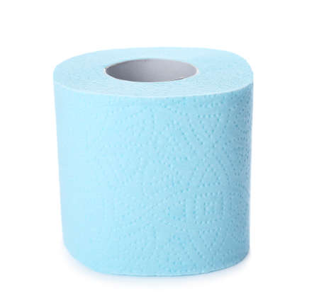 Roll of toilet paper on white background. Personal hygiene