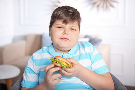 Ragazzo sovrappeso con hamburger in casa Archivio Fotografico