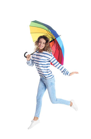 Woman with rainbow umbrella on white background