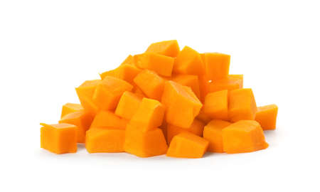 Heap of fresh raw pumpkin pieces isolated on white
