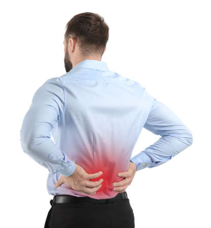 Man suffering from back pain on white background