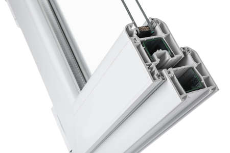 Sample of modern window profile on white background, closeup