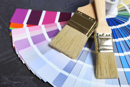 Brushes and paint color palette samples on gray background, closeup