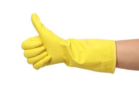 Woman in clean rubber glove for dish washing showing thumb up gesture, closeup Archivio Fotografico