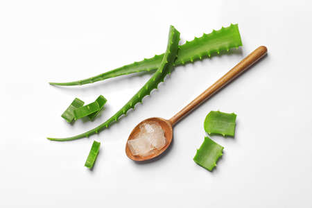 Flat lay composition with aloe vera on white background Stock Photo