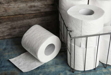 Toilet paper rolls on table. Personal hygiene