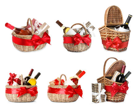 Set with gift baskets and wine on white background 스톡 콘텐츠