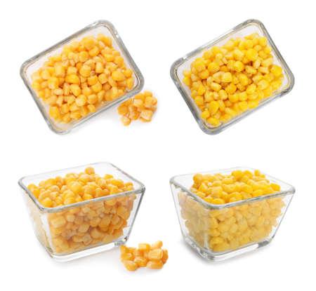Set with bowls of sweet corn kernels on white background Banco de Imagens