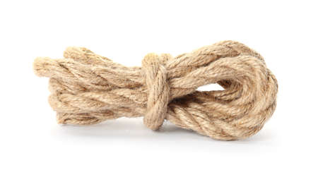 Bundle of hemp rope on white background