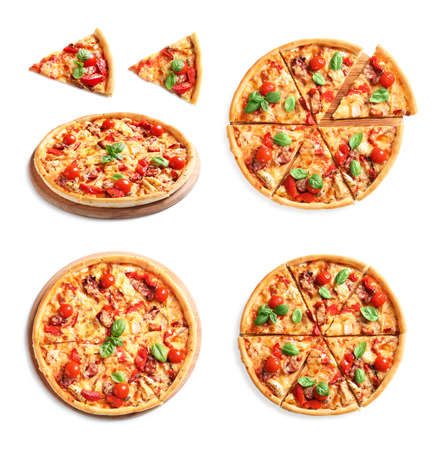 Set with delicious pizza on white background