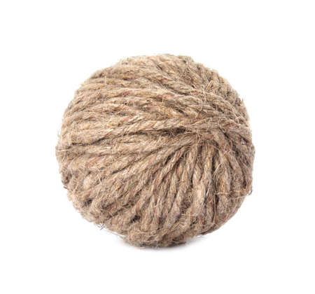 Ball of hemp rope on white background