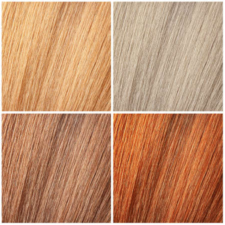 Set with color hair samples. Beauty and professional treatment Stock Photo