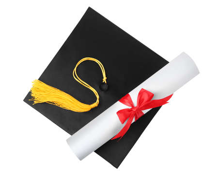 Graduation hat with gold tassel and diploma isolated on white, top view