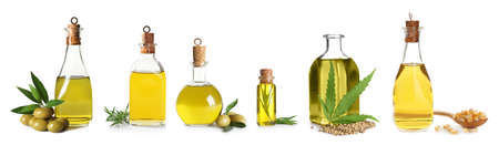 Set with bottles of different oils on white background 版權商用圖片