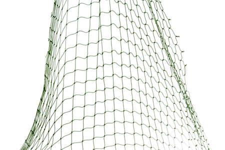 Red de pesca sobre fondo blanco, vista de cerca Foto de archivo