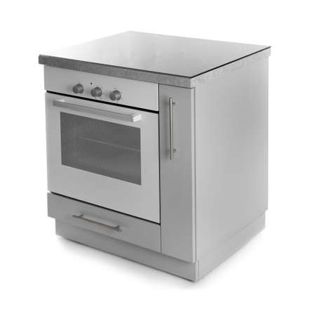 Modern electric oven on white background. Kitchen appliance