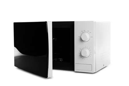 Open modern microwave oven on white background. Kitchen appliance Imagens