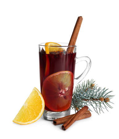 Cup with red mulled wine on white background