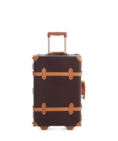 Fashionable brown suitcase on white background