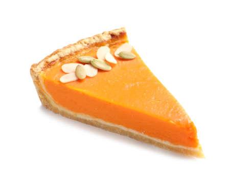 Piece of fresh delicious homemade pumpkin pie on white background