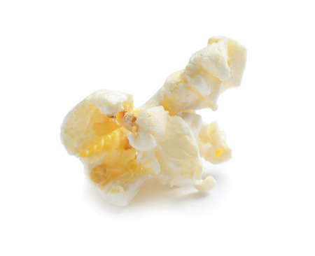 Delicious salty popcorn on white background