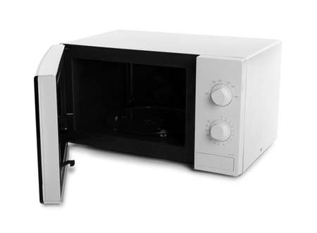 Open modern microwave oven on white background. Kitchen appliance Banco de Imagens