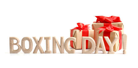 Cute gift boxes with words BOXING DAY, isolated on white