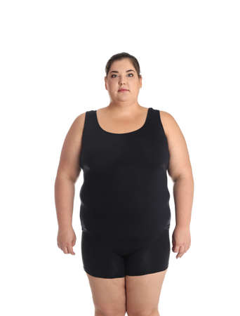 Overweight woman before weight loss on white background